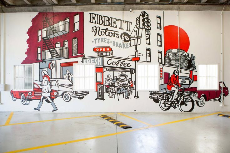 The mural is approx 11m long by 7m Tall and illustrated by the talented Scott from HMNI. Hand painted on site it took HMNI and Material Creative 3 days to finish. | Johnston Ebbett Motors (166 Taranaki Street, Wellington)  | Photo by the talented Jeremy Toth | Fit out by Material Creative.