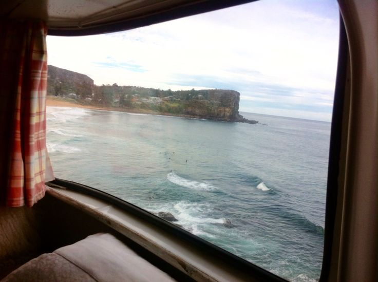 Avalon Beach view from Lucy my vintage caravan