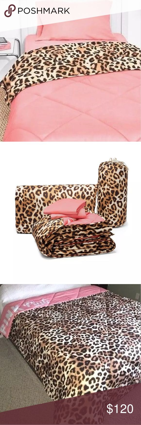 New VS Pink Bed In A Bag Leopard Twin/Twin XL Victoria's Secret Pink Bed in Bag Cheetah leopard print. Comforter is Reversible! Fits Twin and TwinXL (perfect for dorm beds!!!) Brand new. No trades! Feel free to make an offer! PINK Victoria's Secret Other