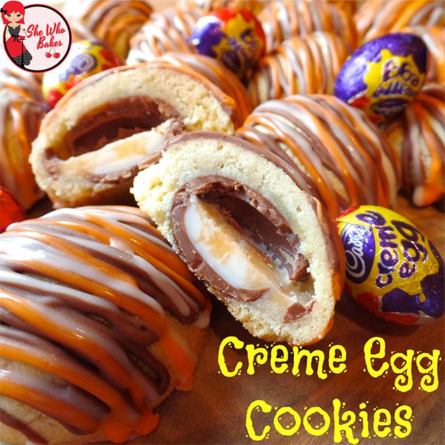 Creme Egg Cookies - mine didn't look as fancy as these, because I didn't have the patience to wait til I'd iced them and just tucked in! Still yummy though!