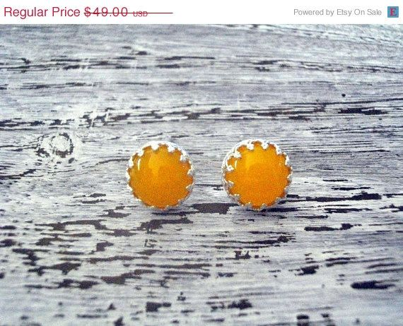 ON SALE 925 silver stud earrings with yellow agate by ZahavTelAviv, $34.30