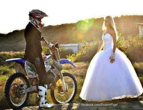 Tux and wedding dress with helmets and boots... Love the idea but she needs a helmet