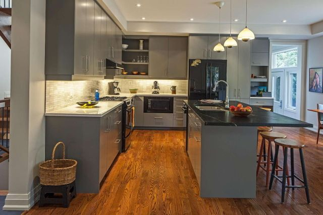 15 best images about gray kitchens on pinterest wood for Black and grey kitchen cabinets
