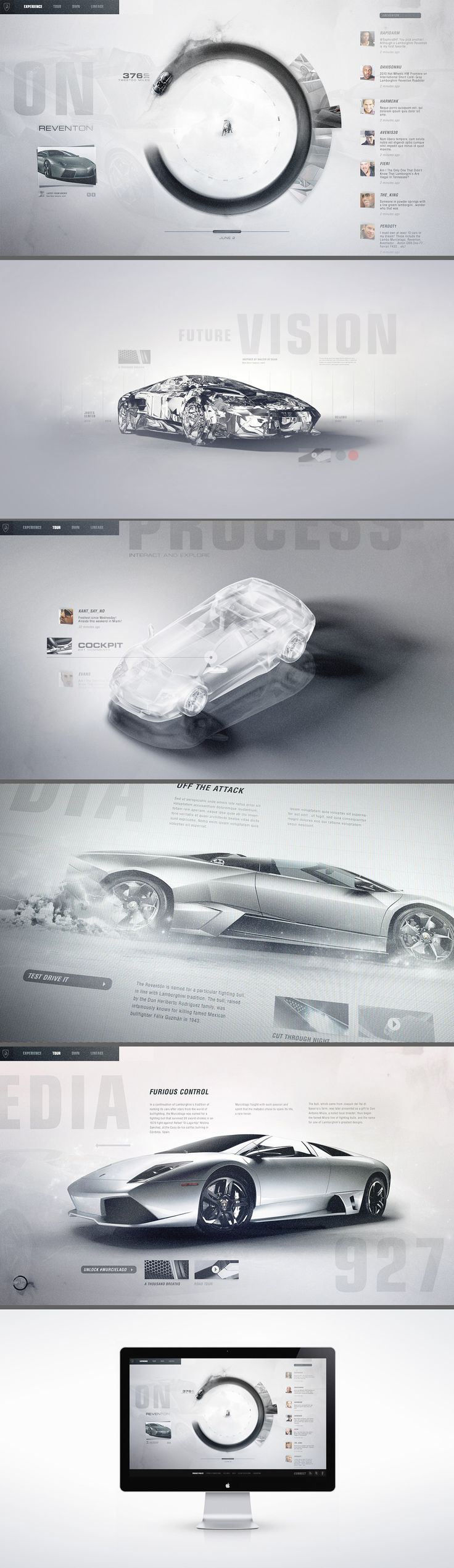 Lamborghini Lineage / Interactive concept design for Automobili Lamborghini. A gestural touch-screen interface invites enthusiasts to explore the lineage of the acclaimed automaker through a timeline emphasizing creative history, technology, and process. A lightweight social layer permeates the editorial layouts in real-time piped directly from tastemakers and brand evangelists.   http://kulthouse.com/work.php?project=lamb