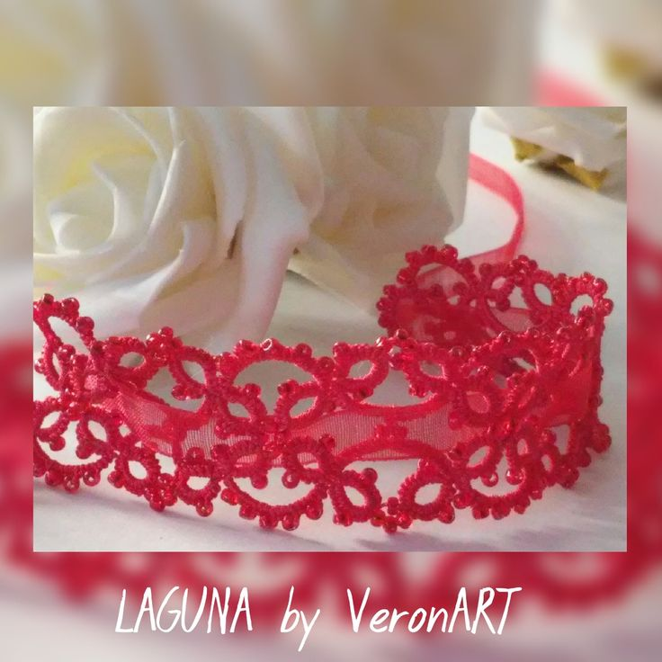 LAGUNA gyöngyös nyakpántok/hajpántok szalaggal / tatted beaded necklace with ribbon :: VERONART tatting - hajócsipke - frivolitás