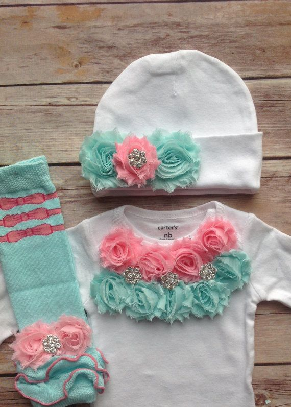 Pink Aqua Newborn Outfit Baby Girl Outfit by AvaMadisonBoutique, $40.00