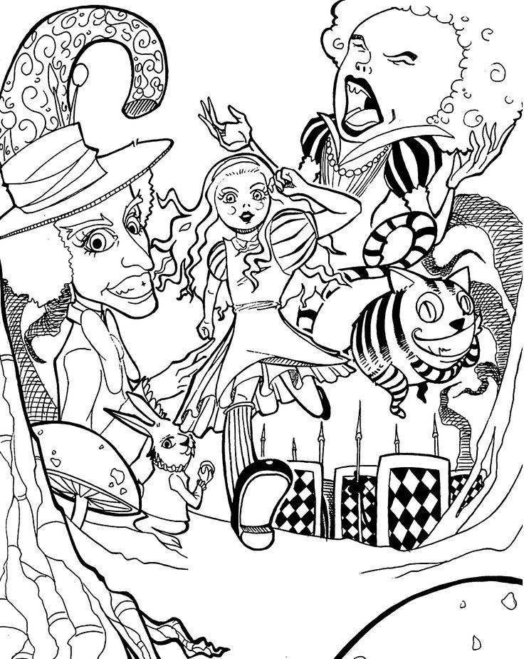 alice in wonderland coloring pages movie for kids printable free - Alice In Wonderland Coloring Pages