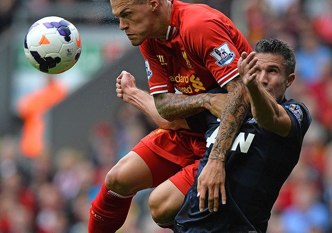 Martin Skrtel denying Van Persie of the ball