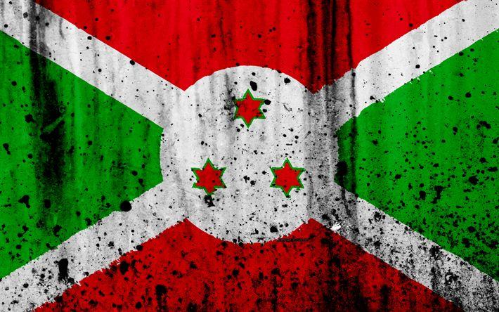 Download wallpapers Burundian flag, 4k, grunge, flag of Burundi, Africa, Burundi, national symbols, Burundi national flag