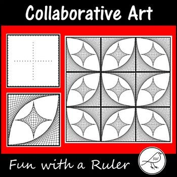 A Fun with a Ruler art project that involves drawing parabolic curves (curves that are made by drawing a series of straight lines).  This project involves your students ruling straight lines between 2 dots on a template.  When they have finished drawing all of the lines they can give their artwork some colour.Each student completes a square.