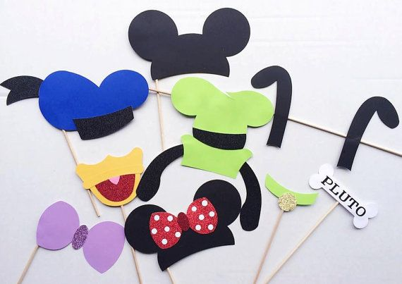 9 Piece Mickey Mouse and Friends Inspired Photo Booth Prop Set;Mickey Mouse Clubhouse;Photobooth Props (Handmade);Disney Inspired Photo Props -by Lets Get Decorative