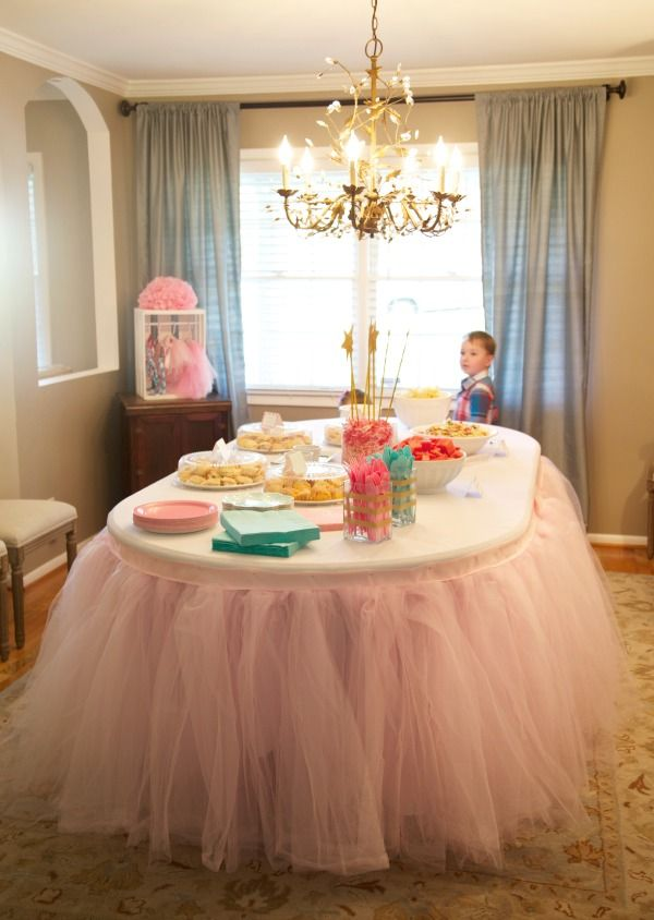 Tutu Birthday Party - how fun is this tutu table skirt for the food table?! {from @parties4pennies}