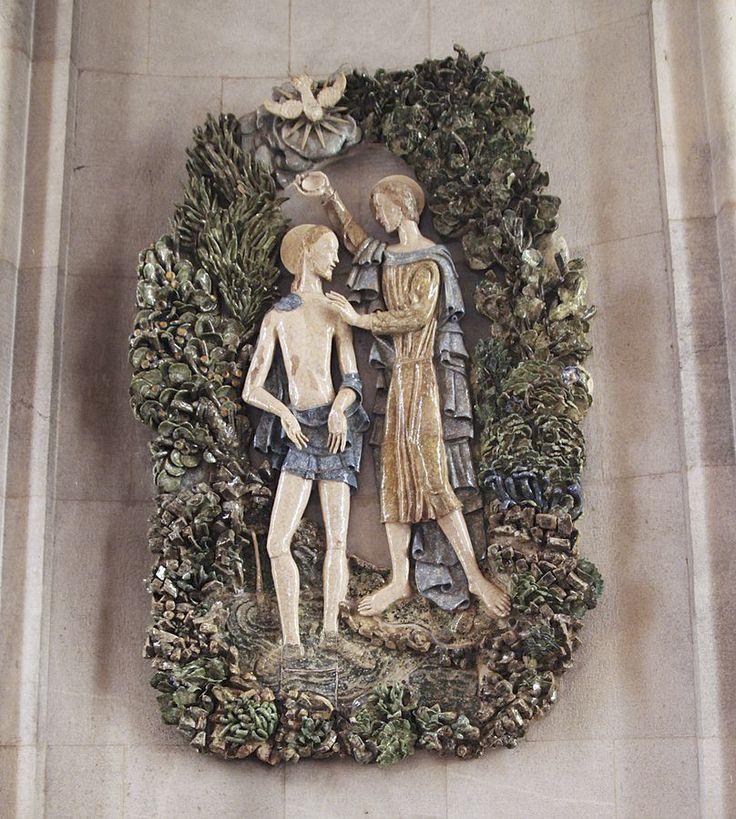 Jorge Barradas   Lisboa   O Baptismo de Cristo / The Baptism of Christ   Igreja de / Church of São João de Deus   1952 #Azulejo #AzulejoDoMês #AzulejoOfTheMonth #Santos #Saints