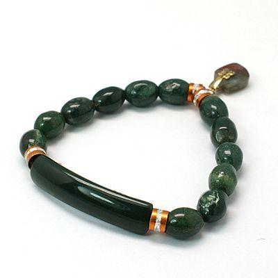 Gemstone Elastic Bracelets, with Brass Findings by Jersica