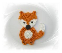 SaVö-Design – Fuchs gehäkelt   Häkelapplikation, crochet applique fox