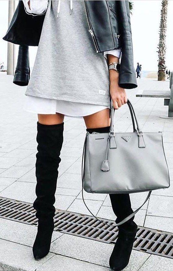 #winter #fashion /  Grey Dress // Leather Bomber Jacket // Grey Leather Jacket // Black Suede OTK Boots