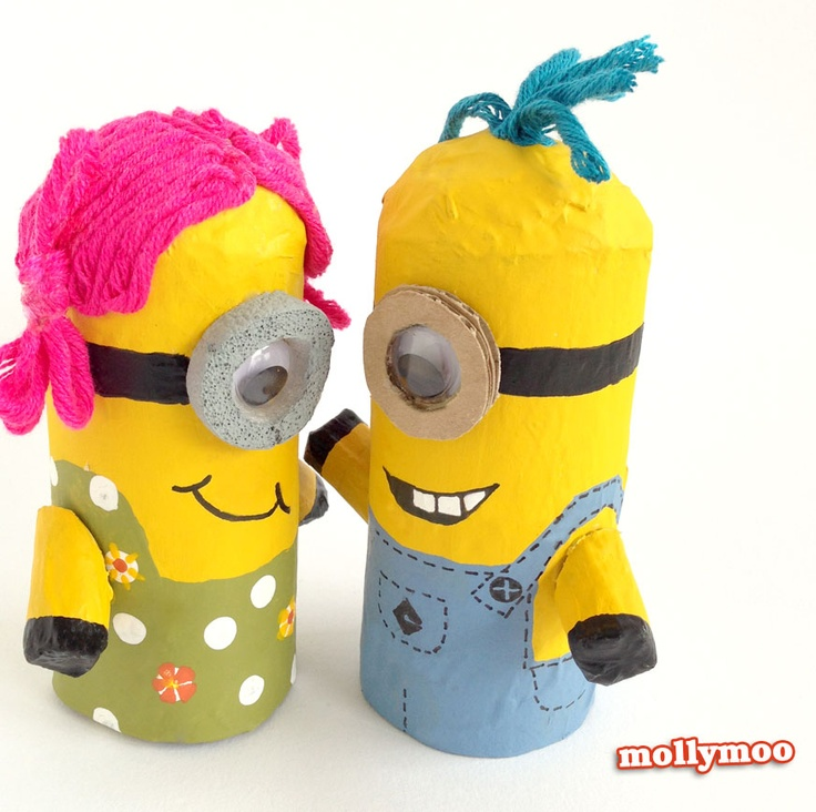 Recycled Cardboard Roll Minions Craft for Kids