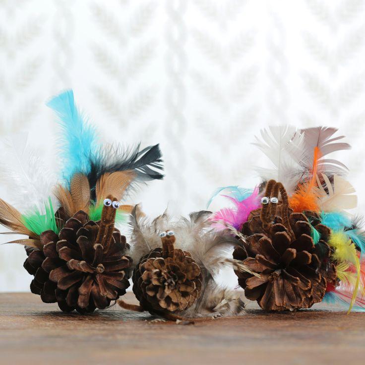 DIY Pinecone Turkeys for Thanksgiving