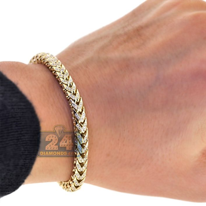 9b69bcd411f Mens 3.20 Carat Diamond Custom Made Franco Link Bracelet 14K Yellow Gold