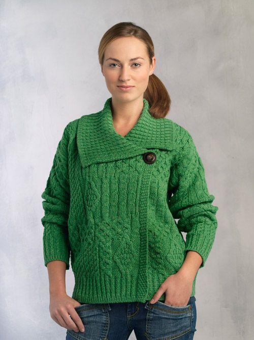 Special Offer One Button Merino Wool Modern Aran Style Cardigan. Ref: X 4005   Irish Handcrafts