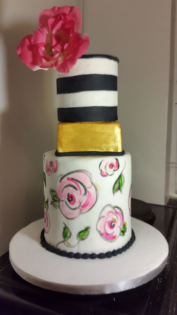 Art deco hand painted wedding cake by So'Licious Cakery.