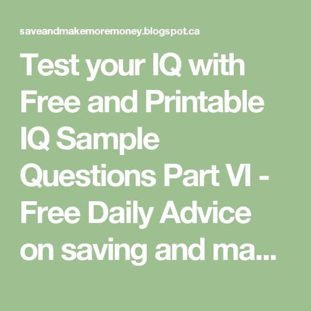 1000+ ideas about Test Iq Free on Pinterest
