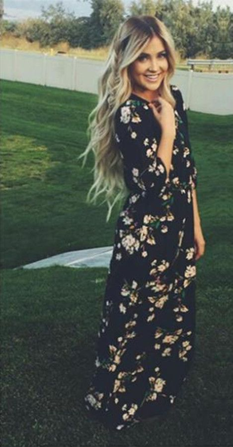 Chiffon Floral O-neck Long Sleeve Long Dress