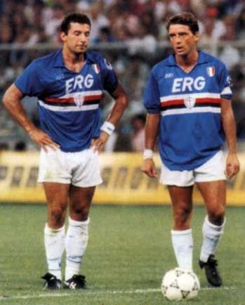 Gianluca Vialli with Roberto Mancini a L'epoque Ado ou jetait fan de la Sampdoria