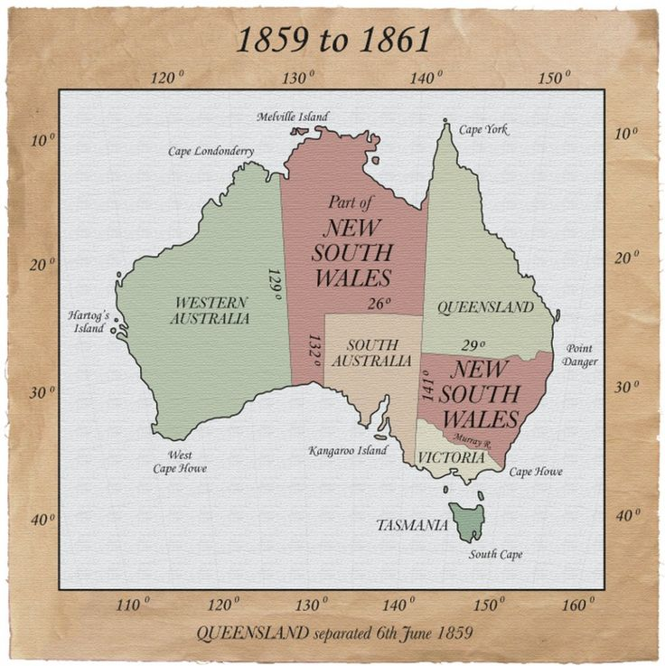 Atlas of Australia, Australian colonial border changes 1859-1861
