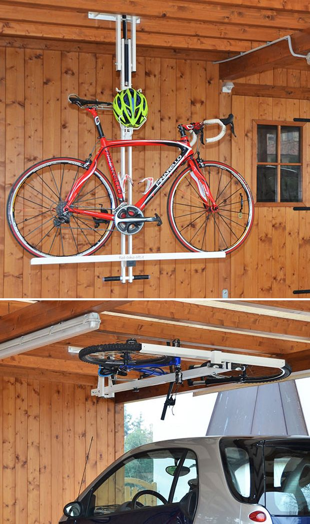 Flat-Bike-Lift Parking your bike on the ceiling saves space. The flat-bike-lift is a new ceiling hydro-pneumatic bike rack made exclusively for this purpose. Load your bike onto the rack, give a little push to activate the lift, & up it goes to store horizontally overhead.