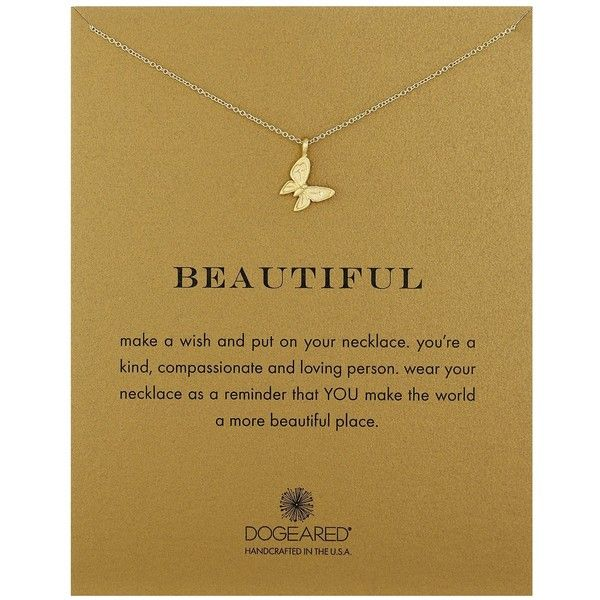 """Dogeared """"Reminders"""" Beautiful Enchanted Butterfly Gold Charm... (£32) ❤ liked on Polyvore featuring jewelry, necklaces, butterfly charm necklace, dogeared necklace, yellow gold jewelry, monarch butterfly necklace and gold butterfly jewelry"""