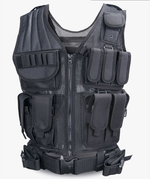 Molle Adjustable Lightweight Breathable Cs Field Swat Law Enforcement Police Tactical Vest With Pistol Holster