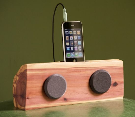 Handmade wooden iPhone/iPod docking station with speakers