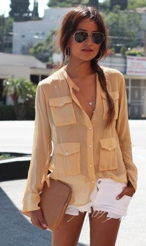 white shorts + beige blouse: Summer Styles, White Shorts, Summer Looks, Summer Outfit, Blouse, Buttons Up, Shirts, Sheer Tops, Cutoffs