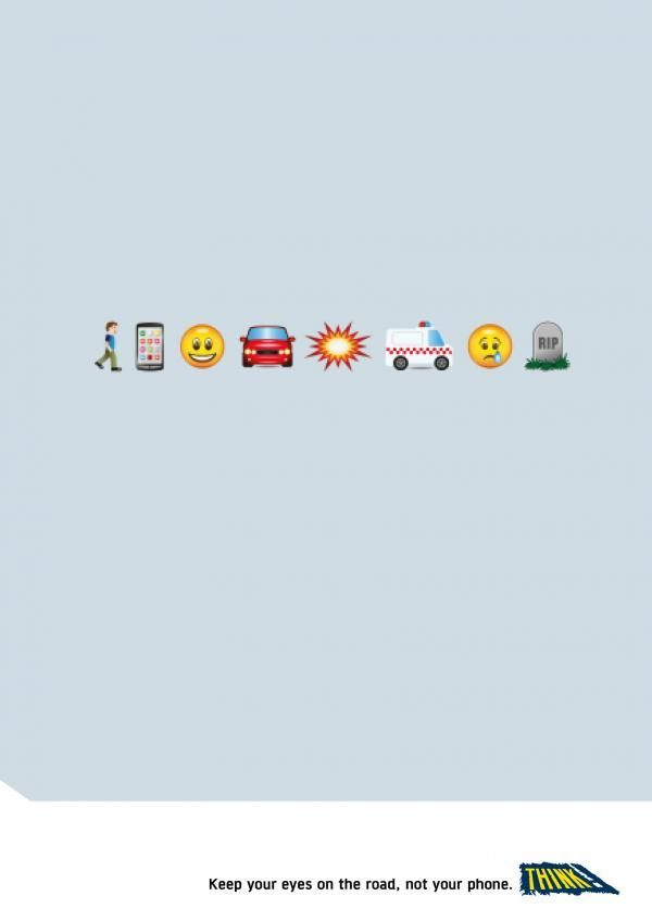 text and drive - This simple text and drive ad by 'Think!' tells a rather sad story through emojis, reminding drivers to keep their eyes on the road and...