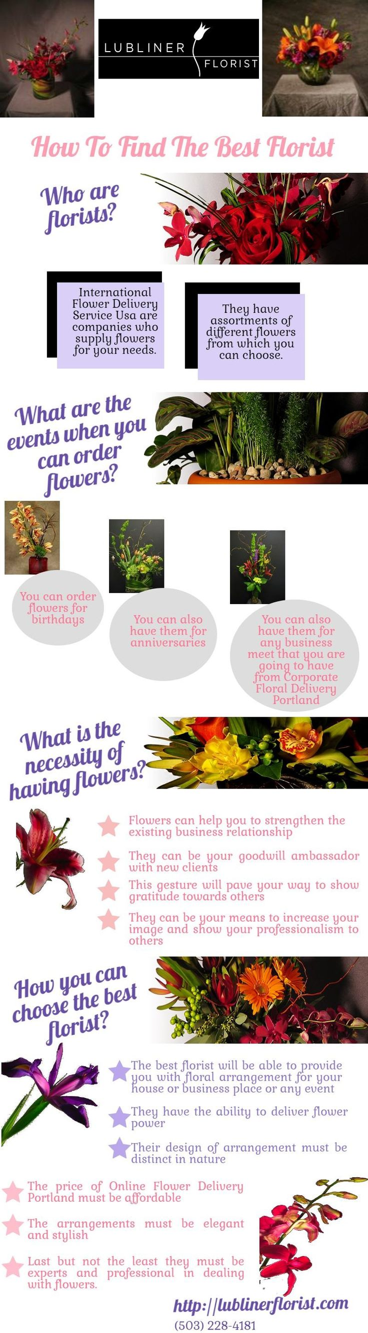 International Flower Delivery Service Usa are companies who supply flowers for your needs. They have assortments of different flowers from which you can choose.http://lublinerflorist.com