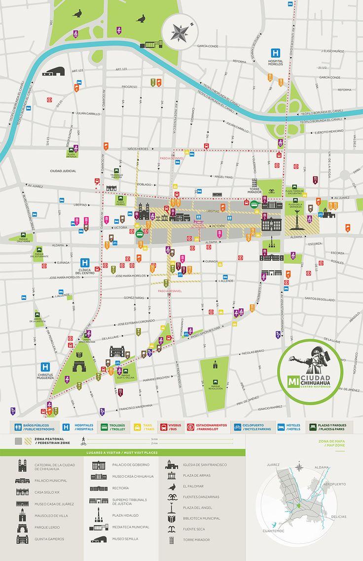 Logotipo y mapa del Centro Histórico de la ciudad de Chihuahua, Chih. México.