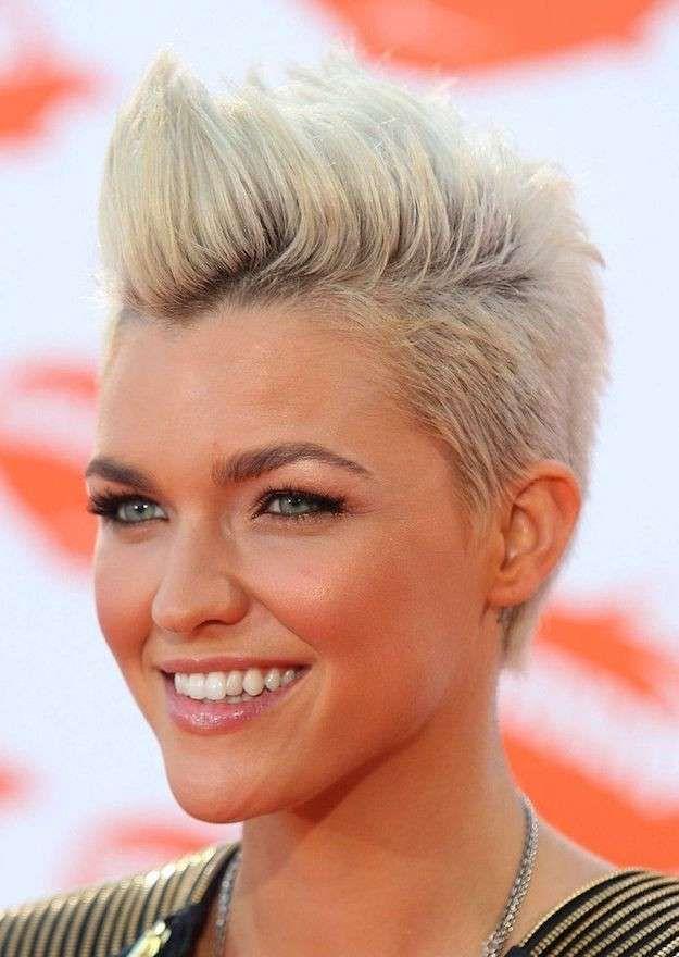 Corte pelo corto con tupe - Pelo corto 2016: corte de pelo corto muy moderno. Con lados rapados y parte de arriba en cresta con volumen en color rubio platino.
