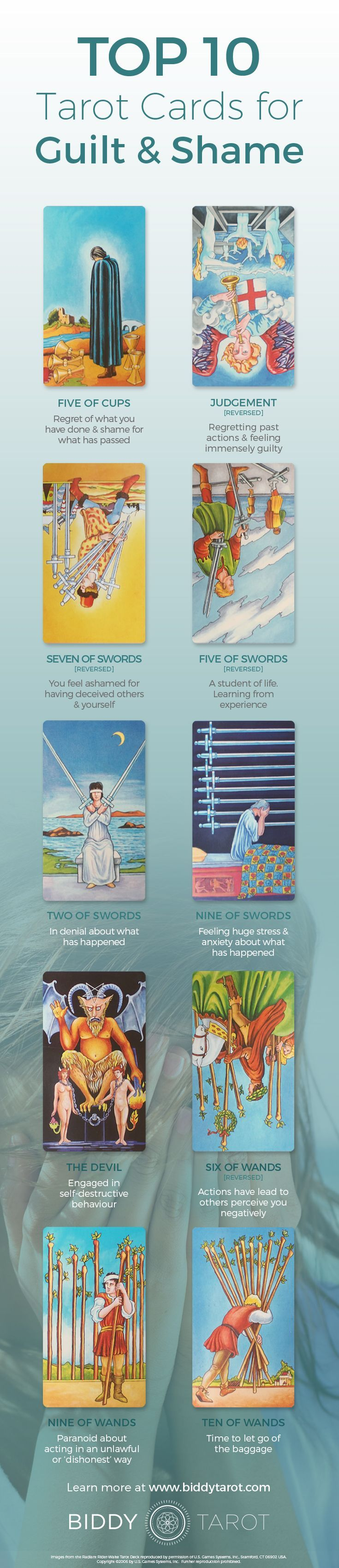 When these #Tarot cards appear, there are some skeletons in the closet. It's time to be #honest, kickstart the #healing process and #confront feelings of #guilt and #shame head on. Download your free copy of my Top 10 Tarot Cards for love, finances, career, life purpose and so much more at https://www.biddytarot.com/top-ten-cards-ebook/ It's my gift to you!