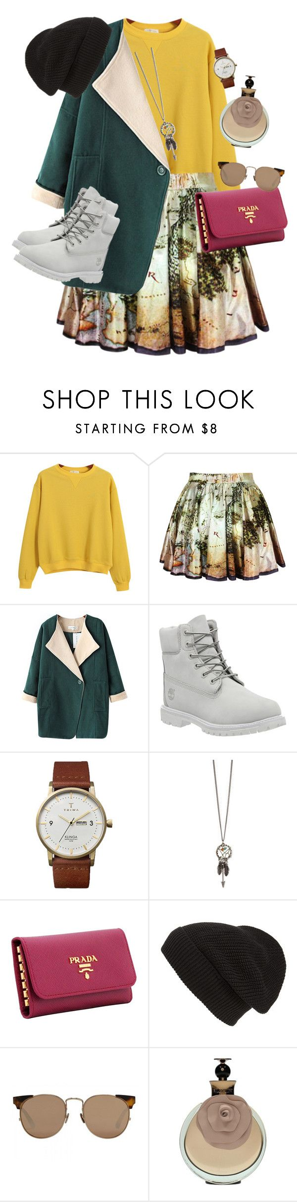 """See you soon -Coldplay"" by dorienooos ❤ liked on Polyvore featuring Chicnova Fashion, Timberland, Triwa, Prada, Phase 3 and Linda Farrow"