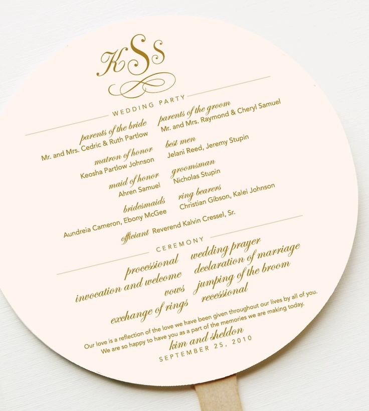 Perfect for outdoor wedding: Program as fan.
