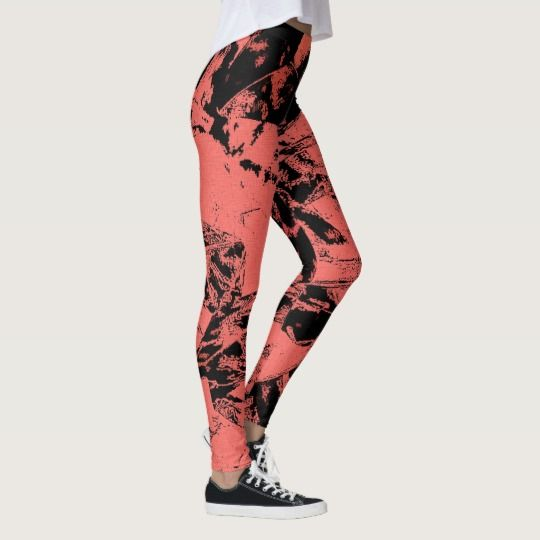 Grunge abstraction, melted paper, cramped pattern leggings