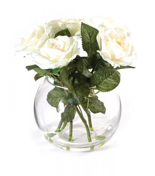 Five Roses and leaves in a rounded bowl, set in Still Water™. White. Height 28cm. €35.00