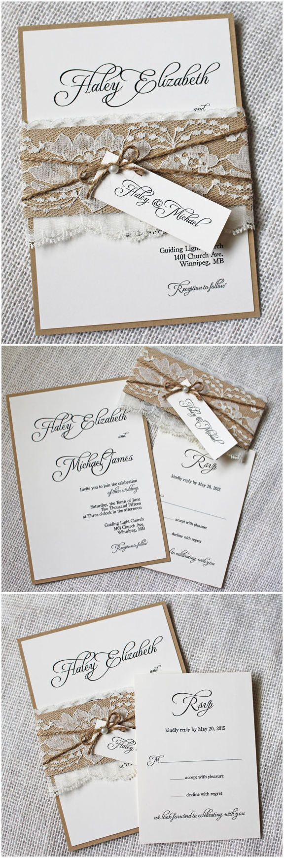 chic rustic wedding invitation cards with pearl lace and burlap