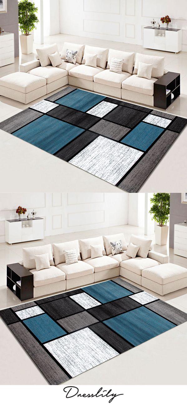 Carpet Modern Simple Style Color Block Washable Rug Living Room Carpet Blue Carpet Bedroom Carpet Design