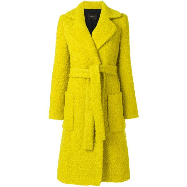 Odeeh textured belt coat ($1,521) ❤ liked on Polyvore featuring outerwear, coats, yellow, belt coat, texture coat, belted coats, coat with belt and yellow coat