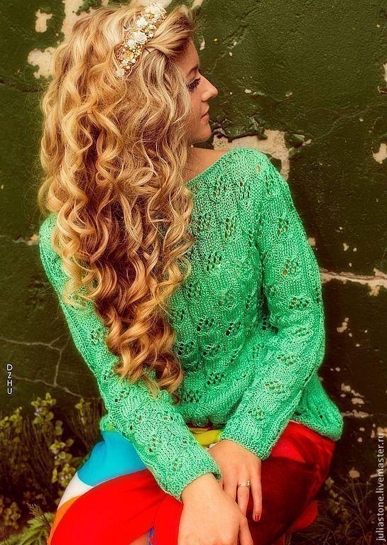 """Купить Пуловер """"Освежающее Мохито"""" - мятный, гусиная лапка, свитер, свитер женский, свитер вязаный"""