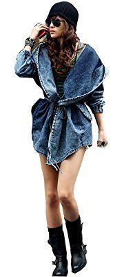 Ashcbus New Frauen Damen Mode schlanke Cowboy Denim Jeans Windbreaker-Jacken-Mantel Outwear Cap Kapuzen