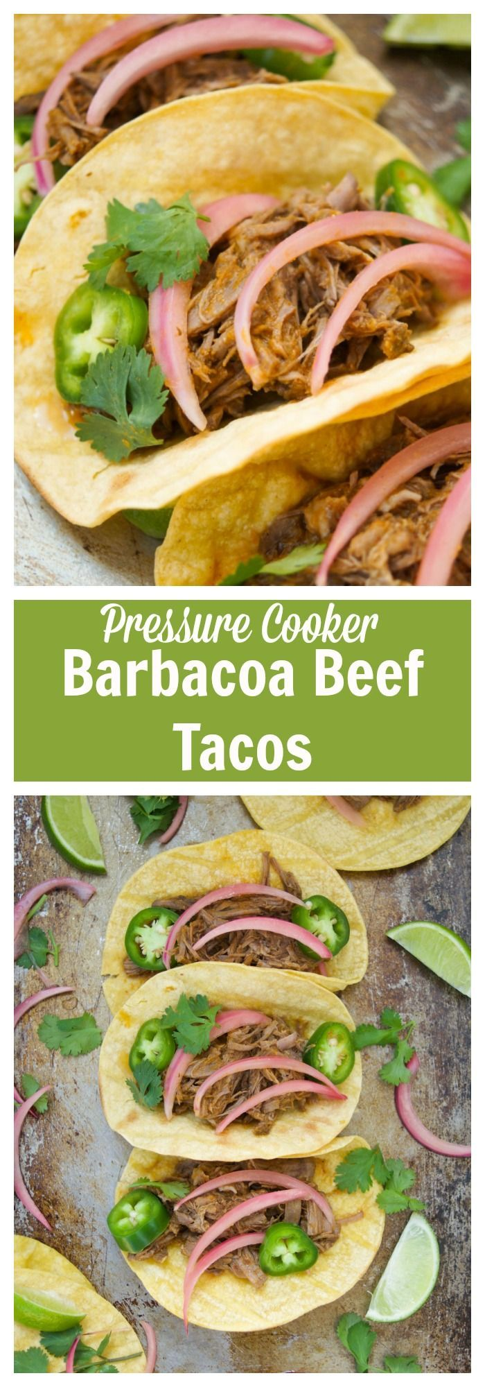 This scrumptious beef barbacoa tacos recipe is made quickly in the pressure cooker and served with homemade pickled onions. Perfect for dinner and parties. More delicious Mexican recipes at livingsweetmoments.com  via @Livingsmoments #ad #lockinbrilliance