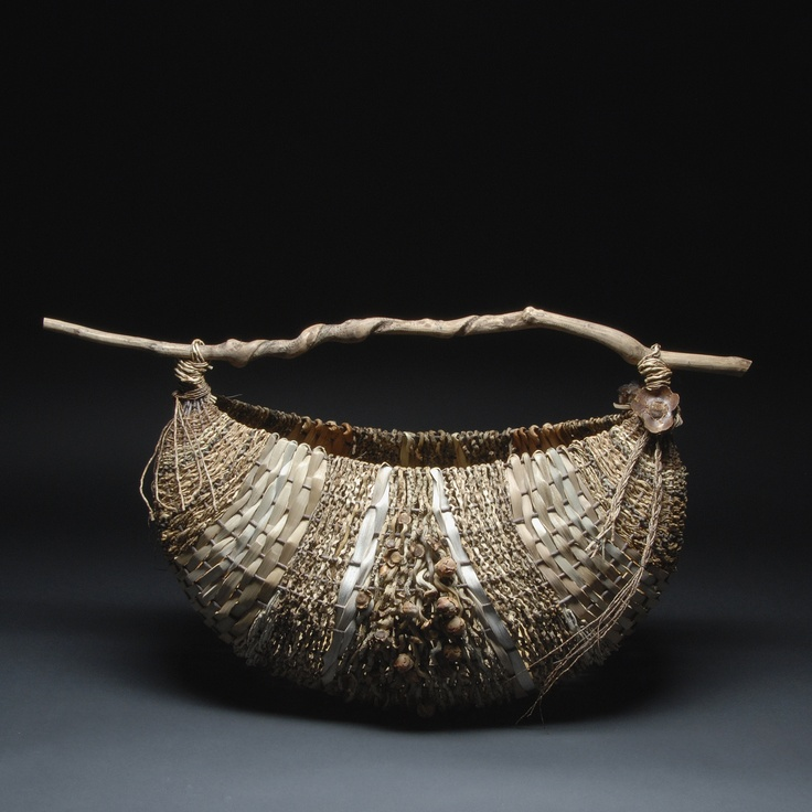 Samuel Yao, Artist, coconut basket, handwoven sculptural basket with material from palm tree inflorescence, H:20.00 x W:36.00  xD:17.00 inches